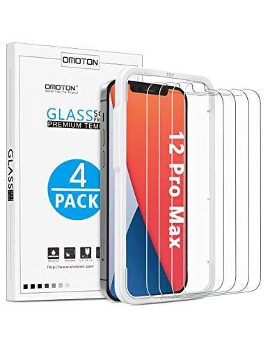 OMOTON Panzerglasfolie Kompatible mit iPhone 12 Pro Max, 4 Stück, 6.7 Zoll, Schutzfolie mit Positionierhilfe, Anti-Kratzen, Anti-Bläschen,Hülle Freundllich