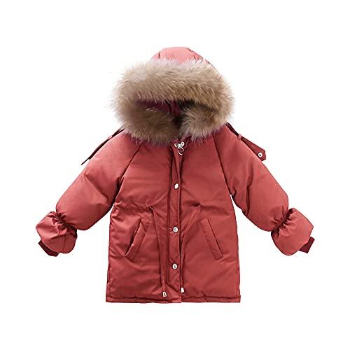 Girls Winter Coat Parka Jacket with Fur Hood Middle Long Outwear Puffer Jacket Orange-110