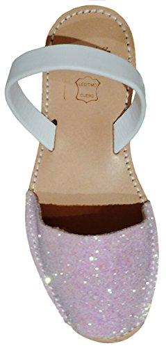 Avarcas menorquínas con Plataforma/cuña 2,5 cm, Glitter, Abarcas, Albarcas, Sandalias (38, Glitter Rosa Candy Tira Blanco Box)