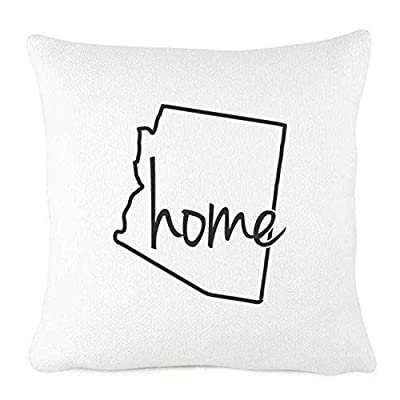 Personalized White Farmhouse Throw Pillow- Outline of Your State- Home State Pride Pillow Cover- Home Decor