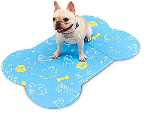 洗える ペット ソフトマット S ブルー 介護 犬猫用 多用途 ペット 介護マット 骨型 介護用 ペットシート 犬 デザイン ズレない 滑り止め マット 防水 柔らかい 気持ちいい オールシーズン使用可能 やさしい 素材 子供用プレイマットにも使用している
