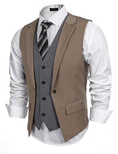 Coofandy Mens Formal Fashion Layered Vest Waistcoat Dress Vest,Brown,XX-Large