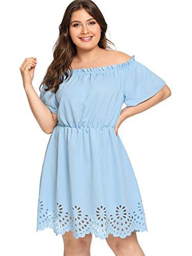 Romwe Women's Plus Size Off The Shoulder Hollowed Out Scallop Hem Party Short Dresses Blue 1X Plus