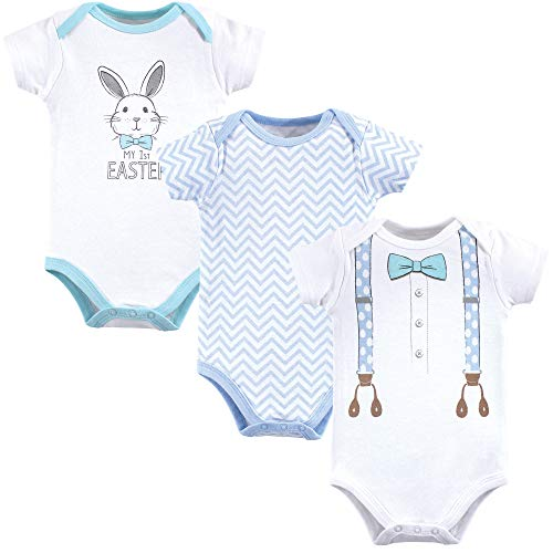 Little Treasure Unisex Baby Cotton Bodysuits, Boy First Easter, 0-3 Months