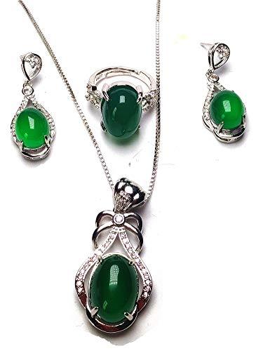yigedan Damen-Schmuckset mit Ring und Ohrringen, natürliche grüne Jade, 18 KGP 925 Silber