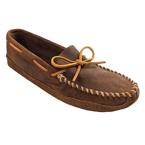 Minnetonka Men's Suede Moccasin Slippers, Double Bottom Softsole Slip-on, Brown Ruff 9 M