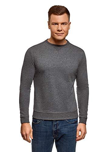 oodji Ultra Herren Baumwoll-Sweatshirt Basic, Grau, DE 56 / XL