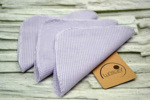 Taschentücher aus Bio-Baumwolle, 6 Stück, wiederverwendbar, Stofftaschentuch, Kind, Baby, waschbar, Ersatz Papiertücher, lila flieder weiß, Streifen, Leinenoptik