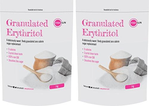 PINK SUN Erythritol Sweetener 2kg (1kg x 2) Granulated Sugar Alternative Zero Calorie No GMO