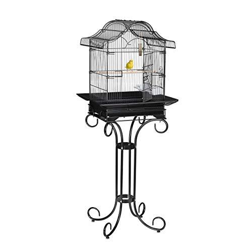 Relaxdays Vogelkäfig mit Ständer, Kanarien, Finken, Sitzstange, Futternapf, Exotenkäfig, HBT 146,5 x 55 x 50 cm, schwarz