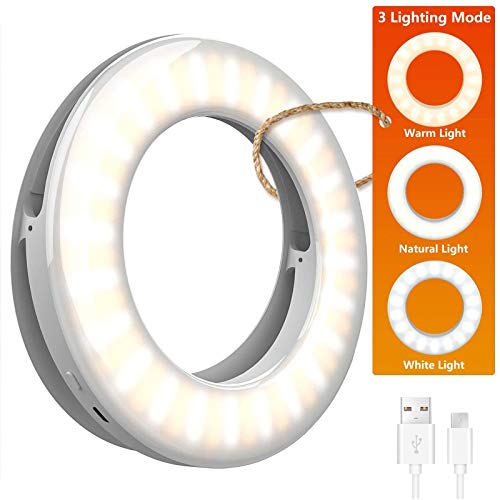 Selfie Light Ring Lights LED Circle Mini Light, Rechargeable 3 Light Modes Makeup Fill Light Cell Phone Tablet Laptop Camera Photography Livestream Video Lighting Clip