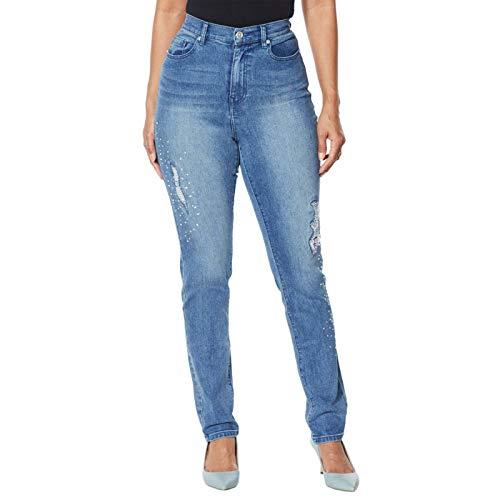 DG2 by Diane Gilman Petite Embellished Distressed Skinny Jeans. 723681-Petite 14 Petite Midtone Blue