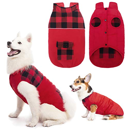 Reversible Dog Winter Clothes - Polar Fleece Dog Jacket, Pet Cold Weather Coats Windproof for Small...