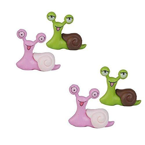 ZLININ Y-longhair - Juego de 4 decoraciones de resina para jardín de hadas, juguetes de casa de muñecas, mini caracoles, tortuga, micromacetas, paisaje, bonsái, accesorios de decoración