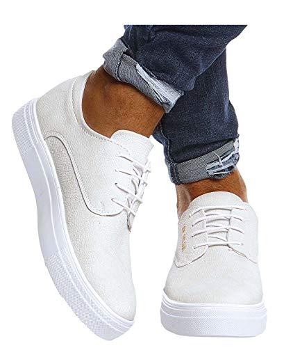 Leif Nelson Herren Schuhe für Freizeit Sport Freizeitschuhe Männer weiße Sneaker Sommer Coole Elegante Sommerschuhe Sportschuhe Weiße Schuhe für Jungen Winterschuhe Halbschuhe LN207 40 Weiss