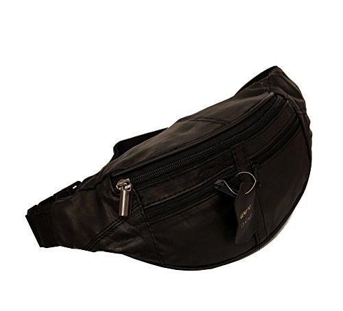 Damen Herren Leder Hüfttasche Gürteltasche Bauchtasche Doggy Bag mi 4 Fächern und verstellbaren Gürtel Nappaleder Schwarz