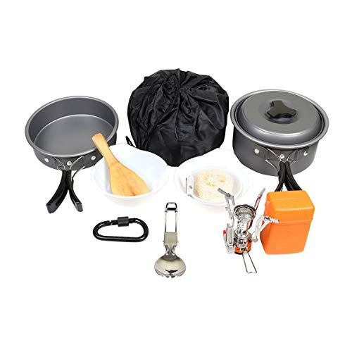 Goetland 12 Pcs Camping Cookware Set Mess Kit Backpacking Cookset Outdoor Hiking Picnic Non-Stick Cooking Anodized Aluminum Pot Pans Folding Utensils