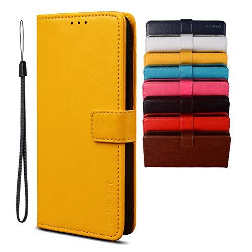 BRAND SET Schutzhülle für Huawei P40 Lite 5G, Brieftaschenstil, Kunstleder, Flip-Hülle mit sicherem Magnetverschluss & Halterung, geeignet für Huawei P40 Lite 5G(Gelb)