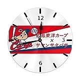 広島東洋カープ 掛け時計 円型 壁掛け 置き時計 お洒落 オシャレ 数字 Round Wall Clock 静音 電池式 部屋装飾