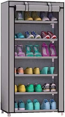 Ketsaal Multipurpose Shoe Rack Organiser Cabinet Tower with Fabric Waterproof Cover for Home 6 Layers Grey Color May Vary as Per Availability