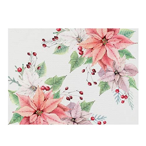 Dish Drying Mat,Poinsettia Absorbent Reversible Microfiber Mat Dish Dry Pad Protector for Kitchen Countertop 12x16inch