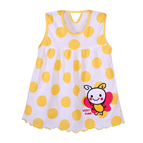 Vestido de nina Verano Vestidos sin Mangas con Estampado de Lunares sin Mangas con codigo de bebe Ropa Impresa de Camisa Suelto y Transpirable Falda Princesa riou