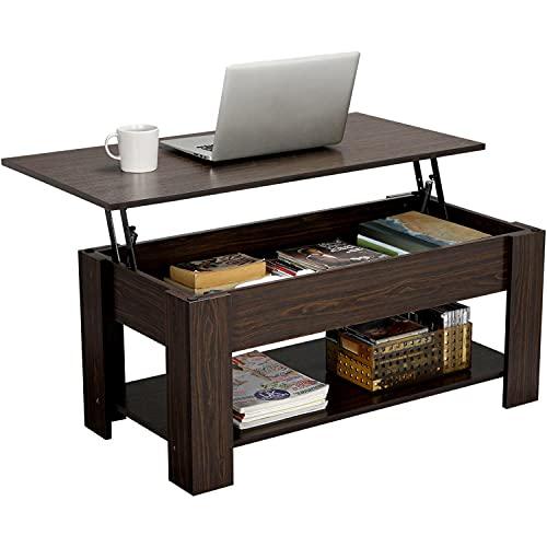 Yaheetech Tavolino Tavolo Elevabile da Salotto Divano caffè Moderno con Piano Sollevabile Ripiano Inferiore Marrone 98 x 50 x 42-56 cm