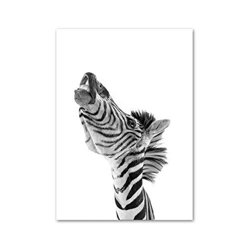 Guangzhouf Póster de Animales en Blanco y Negro Impresiones de Arte de Pared Lienzo Pintura Cuadros de Pared decoración de habitación 40x50cmNoFrame G