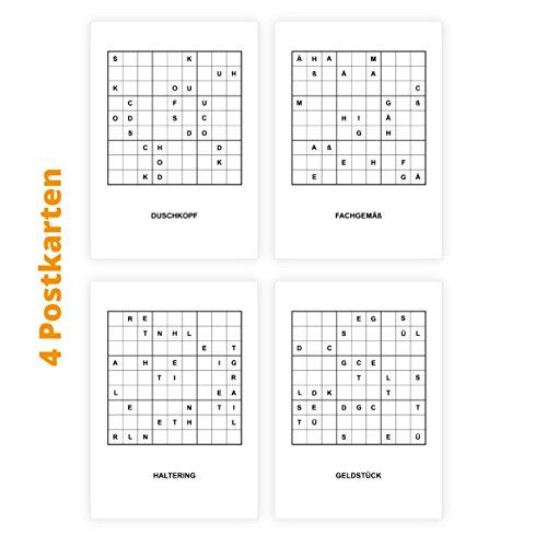 Sudoku set van 4 letters raadselkaarten om te knopen voor literatuur & ambachtslieden/doe-het-zelvers vrienden: douchekop, vakkundig, houder, geldstuk - als cadeaulabel, gewoon perforeren, klaar