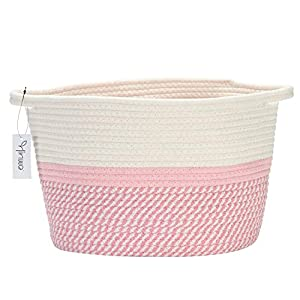 Hinwo Oval Cotton Rope Storage Basket Collapsible Nursery Storage Box Container Organizer with Handles, 13 x 10 inches, Off White and Pink