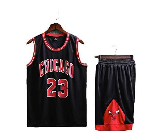 FSBYB Bull de Baloncesto Uniforme Traje Adulto Masculino y Femenino No. 23 Jordan Equipo de Camiseta Deportiva Uniformes Uniforme,Negro,2XL