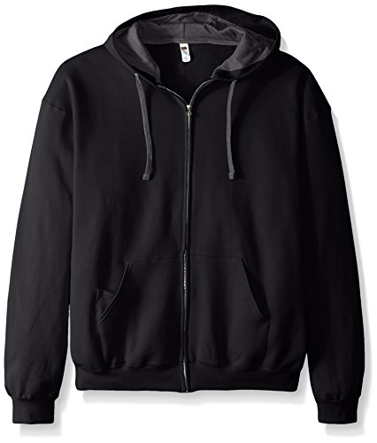 Fruit of the Loom Men's Full-Zip Hooded Sweatshirt - Extra Sizes, Black, XX-Large