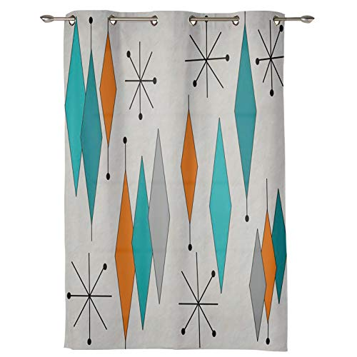 """Verchant Draperies & Curtains Panels for Living Room Europen Retro Modern Mid Century Geometric Window Curtains for Solding Glass Door Bedroom Kitchen Home Decor Shading Drape-1 Panel, 52"""" W by 84"""" L"""