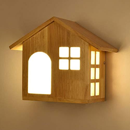 DKee Luz de pared Creativa Lámpara Moderna Sala De Estar Lámpara De Noche Lámpara De Pared Minimalista For Niños Lámpara De Pared Del Dormitorio Pasillo Corredor De Madera Decorativa De Pared LED (27