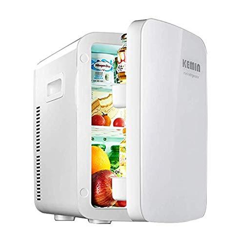 LT Mini-koelkast voor in de auto, dual core gekoelde kleine huishoudkoeler en warmer draagbare studentenhuis, wit, champagne wit