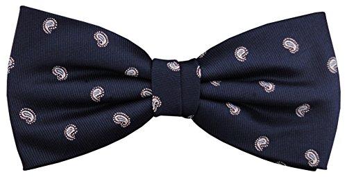 Designer Nœud papillon soie bleu royal argent à pois - Nœud papillon soie silk