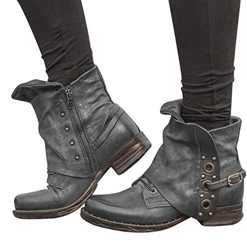 Frazazy - Botas Tobilleras de Piel para Mujer con tacón cómodo y Cremallera Lateral para Invierno y otoño, Gris (Gris) - 2ss1uu6tn4lw7hl6D16