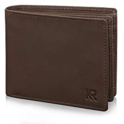 KRONIFY wallet men leather - TÜV tested RFID protection I wallet men made of high quality buffalo leather I leather wallet brown I wallet leather with gift box I wallet for men
