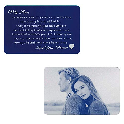Navy Love You Forever Personalized Photo Engraving Metal Wallet Love Note Mini Insert Card Wedding Anniversary - Navy blue