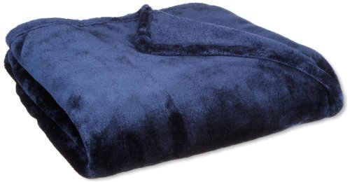 WPM Navy Blue Queen Throw Blanket Sumptuously Soft Plush Fleece Sofa Couch Lightweight Throws (Navy)
