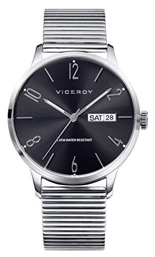 Reloj Viceroy, para Hombre, Movimiento de Quarzo, Analógico, Tipo de Correa Acero, Tipo de Cristal Mineral, Diámetro de la Caja 41 mm, Resistencia al Agua (Metros) 50,