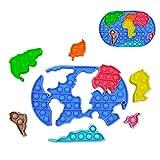 GreenBee Pop it Fidget Toy - Push Pop it Antiestres Niños - Push Pop Bubble Fidget Juguetes Antiestres - Sensorial Herramientas para Aliviar el Estrés y la Ansiedad para Niños y Adultos I Mapamundi