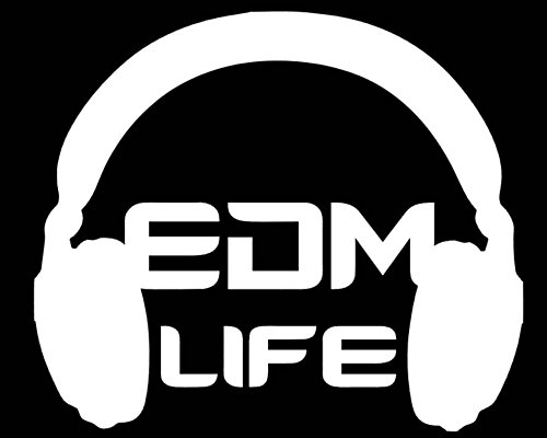 EDM Life Headphone Band DJ Logo Stickers Symbol 5.5' Decorative DIE Cut Decal for Cars Tablets LAPTOPS Skateboard - White Color