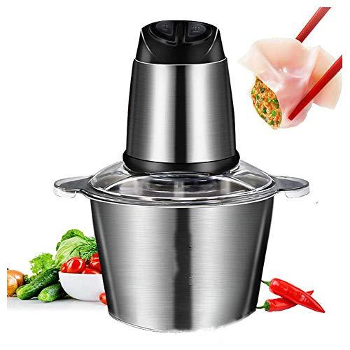 XIONGDA Küchenmaschine, Elektro Chopper Mit 3-Liter-Edelstahl-Schüssel, 2-Gang-Mini-Chopper Für Gemüse, Fleisch, Früchte Und Nüsse, Spülmaschine Reinigbar Geschirrspüler, 4 Doppelklingen, 300W