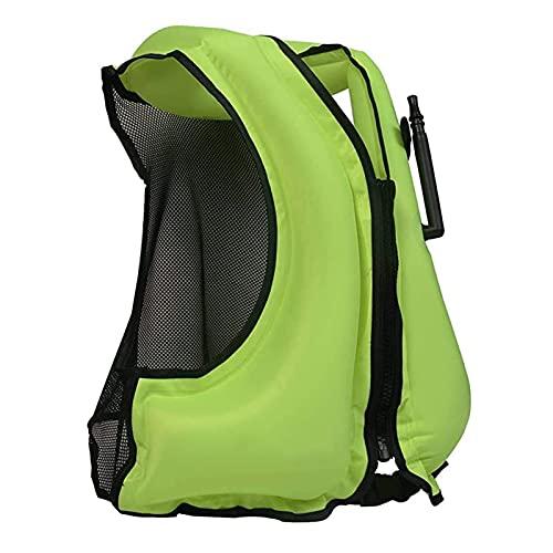 ZAYZ Adultos Snorkel Inflable Chaleco de Natación Chaleco Salvavidas Esnórquel Paddle-Boarding Deportes Acuáticos (Color : Green, Size : 58x49cm)