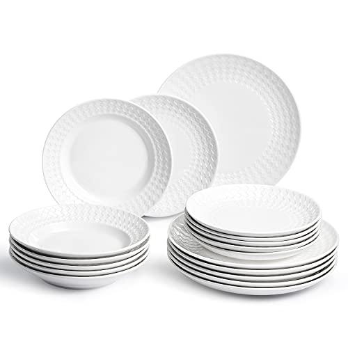 Sunting Vajilla de Porcelana Blanco para 6 Personas. 18 pcs Juegos de Platos de Porcelana con Platos Llanos, Platos Hondos y...