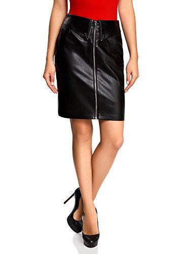 oodji Ultra Mujer Falda de Piel Sintética con Cremallera, Negro, ES 34 / XXS