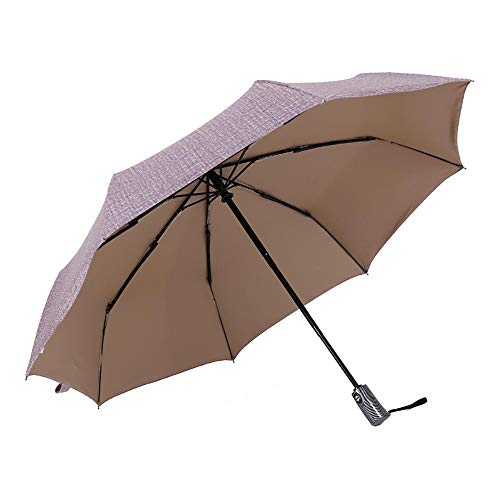 Damaibestcss Paraguas de Tres Pliegues Totalmente automático, sombrilla Plegable para Negocios, Paraguas de Gran tamaño para los Amantes-Vaquero Rojo Vino_8 Huesos