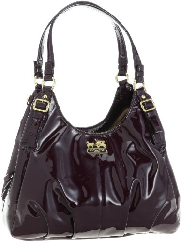 Hot Sale Coach Madison Patent Leather Maggie Shoulder Hobo Bag Purse 18760 Plum