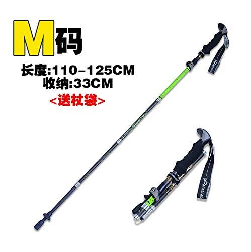 Trekking pôle carbone ultra-léger en fibre de carbone extensible pliant cane lock équipement d'escalade en plein air bâton de marche bâton d'escalade, bâton de pliage en fibre de carbone muet noir 125